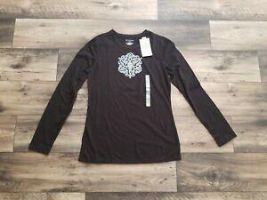 New! Tek Gear Women's Black Long Sleeve Shirt -Size Small - Super Cute!