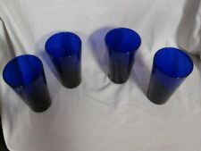 """Libbey Cobalt Blue Ice Tea Glasses Tumblers Round Bottoms 6"""" Tall"""