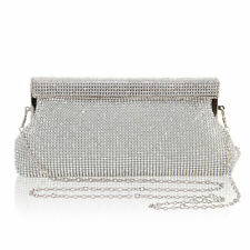 Silver Diamante Diamond Crystal Evening bag Clutch Purse Party Wedding Eid Prom