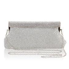 Silver Diamante Diamond Crystal Evening bag Clutch Purse Party Wedding Eid Prom