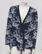 BELLDINI Gray Floral Intarsia Cotton Viscose Draped Long Cardigan Sweater Top S