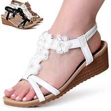 Tacón de Cuña para Mujer Sandalias Tiras Sandalias con Plataforma Brillo Flores