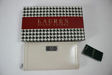 NWT RALPH LAUREN Women's Ivory 100% Leather CHISWELL Zip Around Wallet w/Box