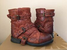 UGG COLLECTION ELISABETA TOBACCO WEAVE BIKERS BOOTS USA 7 / EU 38 / UK 5.5 - NEW