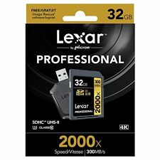Lexar 32GB 2000x Professional SDHC UHS-II [U3] Class 10 Card & UHS-II USB Reader