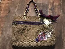 COACH POPPY SIGNATURE GLAM XL PURSE BAG TOTE 15882  XL BAG MULTICOLOR  PURPLE