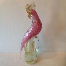 Murano Glass Pink Bird Parrot Cockatoo S. Frattini L.E. 66/500 Aventurine Signed