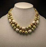 Vintage Lucite Multi Strand Green, Gold, & White Bead Necklace