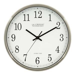 La Crosse Technology Wall Clock Atomic Analog Metal-Frame Silver 12 in. Height