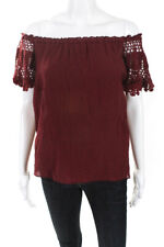 Bailey 44 Women's Short Sleeve Blouse Cotton Red Size Medium