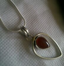 Modernist Carnelian gem handmade 925 pendant & Sterling silver chain.UK SALE.NEW