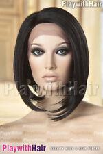 Sleek Sophisticated Bob Wig Lace Front Heat Safe Mono Part Glossy Jet Black