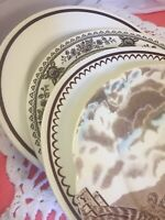 4 Vintage Mismatched China Ironstone Dinner Plates Brown Transferware #284