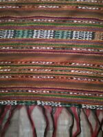 "Guatemalan Serape Blanket Autumn Striped 51""x35"" Throw Tablerunner Tzute Fringed"