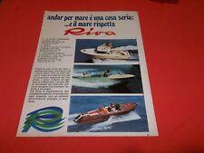 PUBBLICITA' 1973 ADVERT WERBUNG MOTOSCAFO SPEEDBOOAT RIVA SARNICO RUDY FISHERMAN