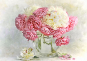 Pink Roses Painting Garden Shabby Chic Provincial Canvas Print A4