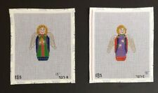 Evelyn Bernstein 2 Hand-painted Needlepoint Canvases Bright & Colorful Angels