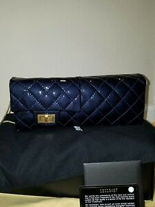 MYPOUPETTE AUTHENTIC LE CHANEL CLUTCH/ SHOULDER BAG DK BLUE BNEW
