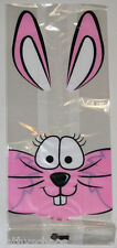"""25 Easter Bunny Cottontail Rabbit Cello Clear Cellophane Bags Candy Gifts 5x11"""""""