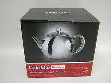 New Grunwerg Cafe Ole Rondeo Stainless Steel Teapot With Infuser RT-017X 0.5L
