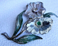 Vintage 1920s Retro Rhinestone Colorful Enamel Flower Pin Brooch