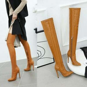 Sexy Womens Over Knee Thigh High Boots Party Stilettos Pointy Toe Zip Shoes Size