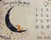 Baby Monthly Milestone Blanket,Photo Blanket for Boys Girls Baby Newborn Shower