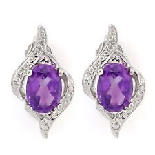 AMETHYST & WHITE DIAMOND EARRINGS SILVER 1.36 CWT WHITE GOLD LOOK FEBRUARY BIRTH
