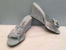 Vintage Daniel Green Boidoir Blue Suede Clear Plastic Wedge Slippers 6 6.5