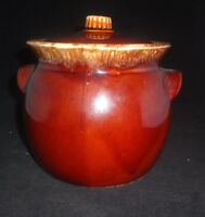 Vtg Hull Pottery Bean Pot With Lid Oven Proof USA Brown Drip Glaze