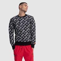 Ellesse Mens Sweatshirt With Logo Through Out Printed Black Jumper XL RRP £65