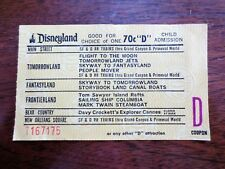 1970s Disneyland Child Admission D Attractions Coupon Ticket Stub Main Street CA