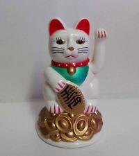 """4"""" Moving Hand Battery Operated Maneki Neko Lucky Cat New White"""