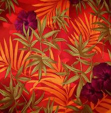 Orange Tropical Hawaiian Print Polyester Twill Lycra Stretch Fabric 1 Yard 29 In