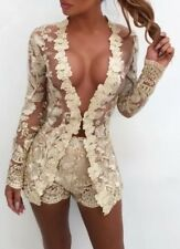 lace sexy fitted shorts set nude mini dress 8 10 bodycon BNWT sheer love island