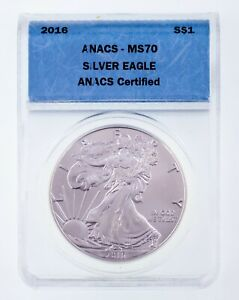 2016 American Silver Eagle Graded by ANACS as MS70