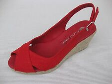 Eric Michael Womens Shoes NEW $120 Aura Red Linen Jute Wedge 35 5 5.5