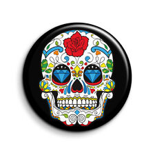 MEXICAN SUGAR SKULL, DAY OF THE DEAD, CALAVERAS 25mm Button Badge. FREE POST