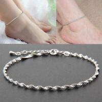Women Fashion Ankle Bracelet 925 Sterling Silver Anklet Foot Jewellery Chain
