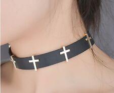 Ladies Girls Black PU Leather Choker Gold Cross Necklace Crosses Adjustable D20