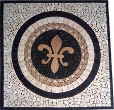Floor Marble Medallion Fleur de Lis Travertine Square Tile Mosaic 28 inch