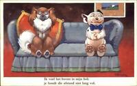 Bonzo Fantasy Dog GE Studdy Postcard - Gentleman Romance on Couch