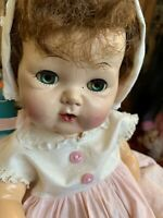 "Vintage 1950's Rubber American Character Tiny Tears 14"" Doll Original Dress"