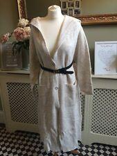 ZARA ecru laine longue Manteau Veste Cardigan avec capuche Taille M Bnwt