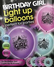 Birthday Girl Illoom Balloons, 5 pack of blue pink purple happy birthday illooms