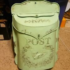 New Vintage Inspired Green Distressed Metal Post Mail Box