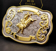 ROCK BULL RIDE RODEO LONG HUGE RODEO BIG COWBOY TEXAS WESTERN SHINE BELT BUCKLE