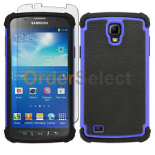Hybrid Rubber Case+LCD Screen Guard for Samsung Galaxy S4 Active Blue 100+SOLD