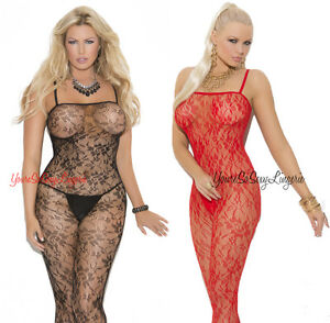 Plus Size LACE BODYSTOCKING Soft FLORAL ROSE LACE Crotchless QUEEN