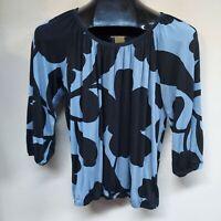 Michael Michael Kors Womens Blue Black Floral Top Blouse 3/4 Sleeve Size P/S